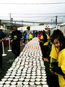 The beer table with volunteers